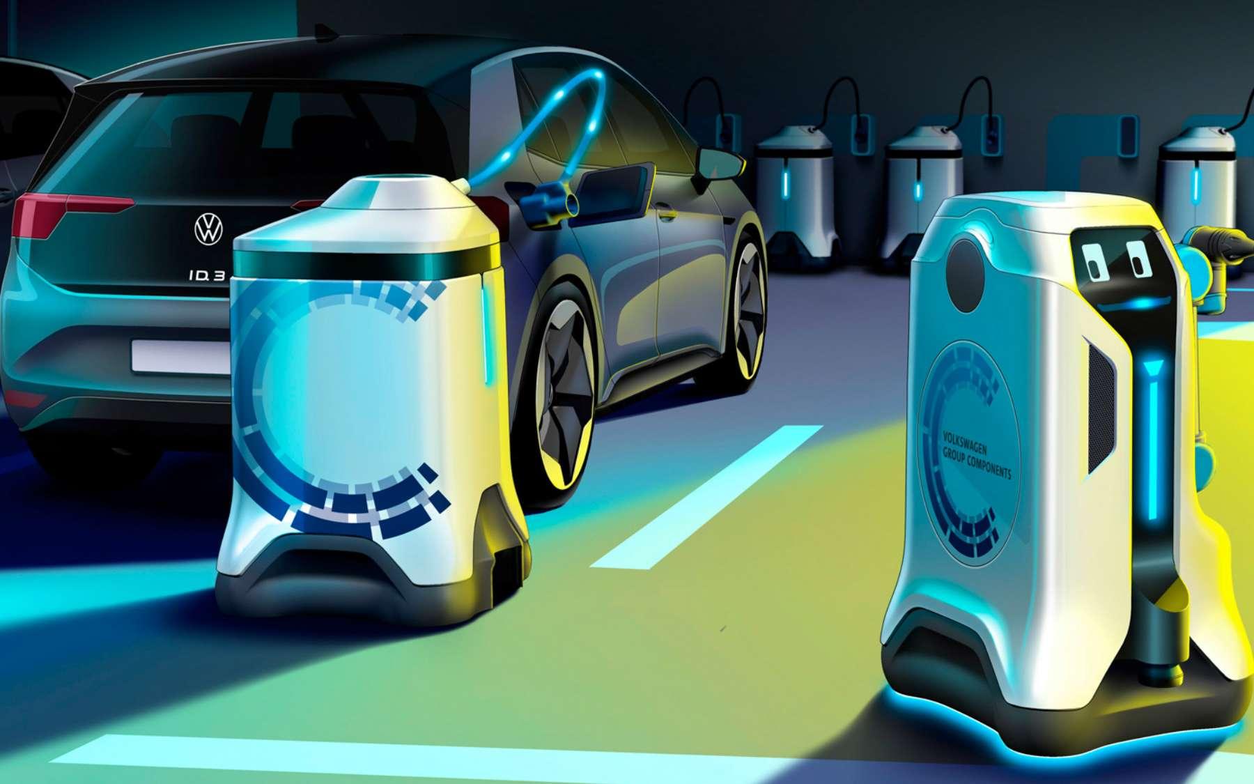 Selon le constructeur automobile Volkswagen, des robots autonomes pourront transformer n'importe quel parking en station de recharge pour véhicule électrique. © Volkswagen