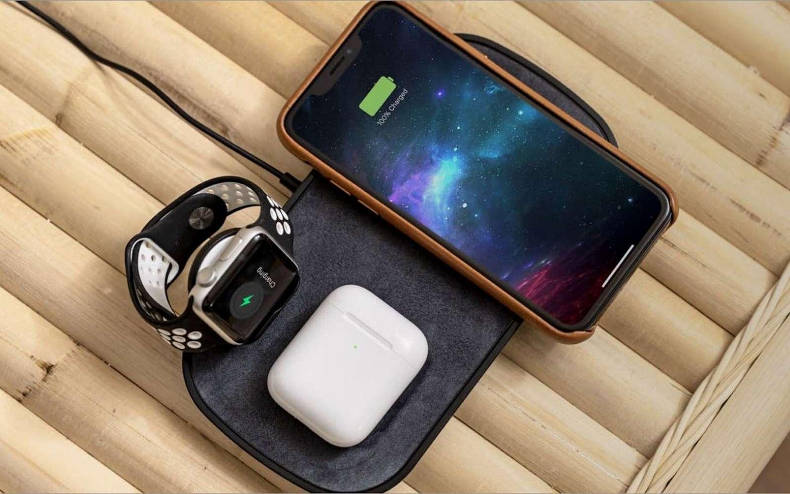 Le tapis de recharge sans fil de Zagg accueille Apple Watch, AirPods et iPhone. © Zagg