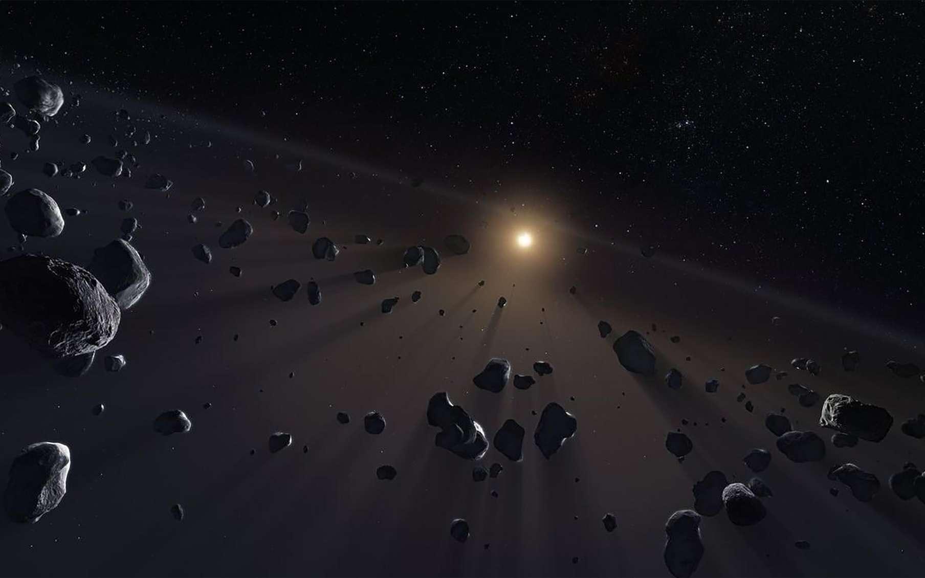 Vue d'artistes d'astéroïdes de la Ceinture de Kuiper. © ESO, Kornmesser