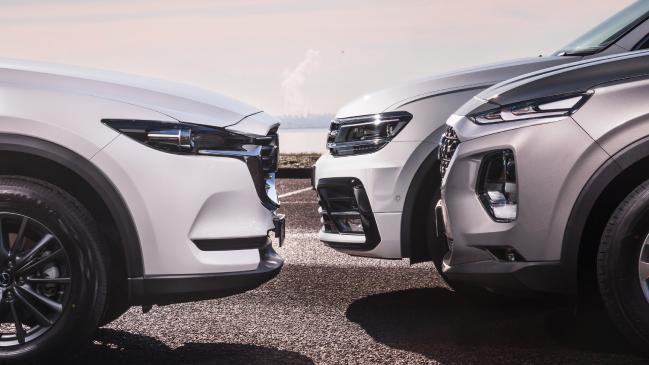 Hyundai Santa Fe v Mazda CX-8 v Volkswagen Tiguan Allspace revisión comparativa