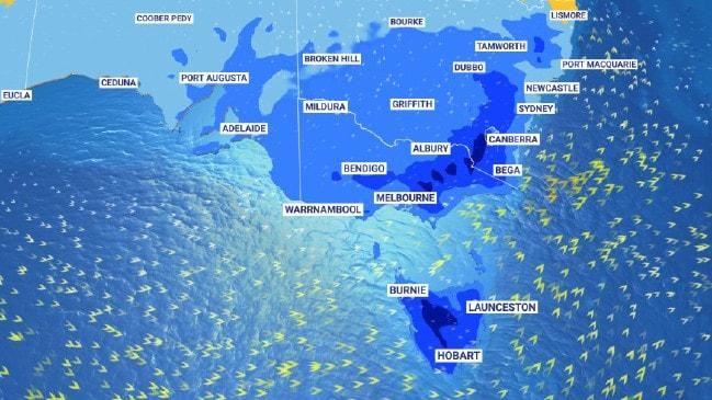 Vientos racheados, pronóstico de temperaturas frías