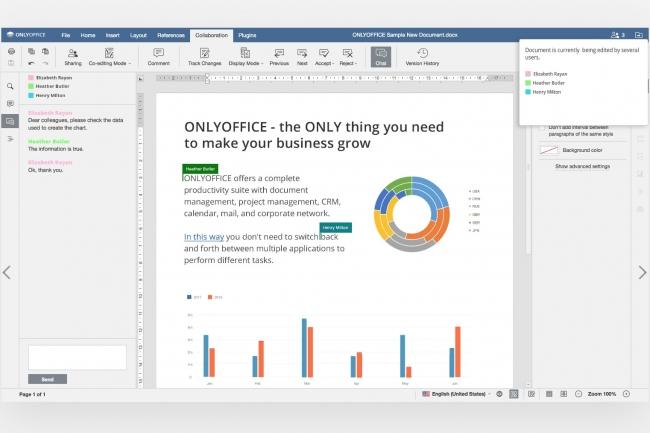 OnlyOffice Document Editor permet de collaborer autour d