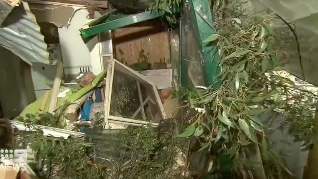 Los árboles de goma destruyen una casa en el este de Melbourne cuando los fuertes vientos azotan el estado