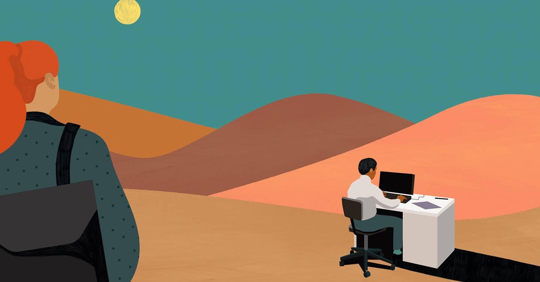 No escritorio es el nuevo y horrendo infierno de hot desking que nos espera a todos