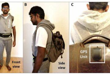 Un système composé d'un sac à dos, un sac banane et une caméra permet de guider les malvoyants. © Université de Géorgie