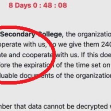 Newcomb Secondary College en Victoria amenazada por piratas informáticos