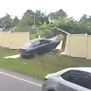 Las imágenes de la cámara del tablero muestran el momento en que el conductor pierde el control y se desvía hacia el tráfico que se aproxima