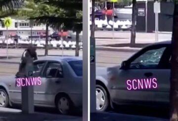 Mujer destroza el parabrisas de un coche con la cabeza en Victoria