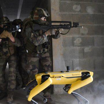 Ce prototype de drone terrestre est une mule qui peut servir de bouclier ou transporter de l'armement et des munitions. © Écoles de formation des officiers de l'armée de Terre