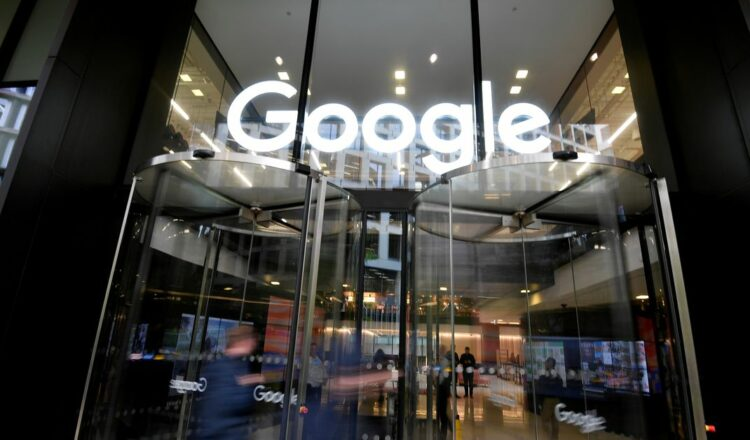 File photo: The Google name is displayed outside the company