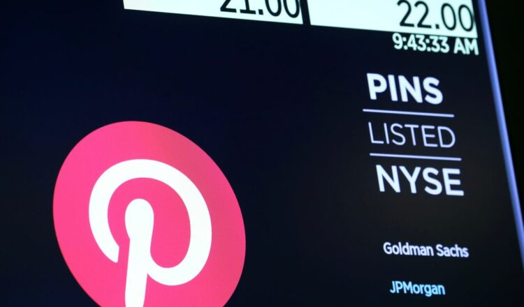 The company logo for Pinterest, Inc. with trading information is displayed on a screen at the New York Stock Exchange (NYSE) in New York, U.S., April 18, 2019. REUTERS/Brendan McDermid