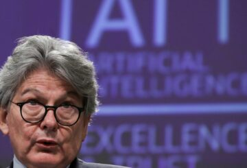 European Internal Market Commissioner Thierry Breton speaks at a media conference on the EU approach to Artificial Intelligence following a weekly meeting of EU Commission in Brussels, Belgium, April 21, 2021. Olivier Hoslet/Pool via REUTERS