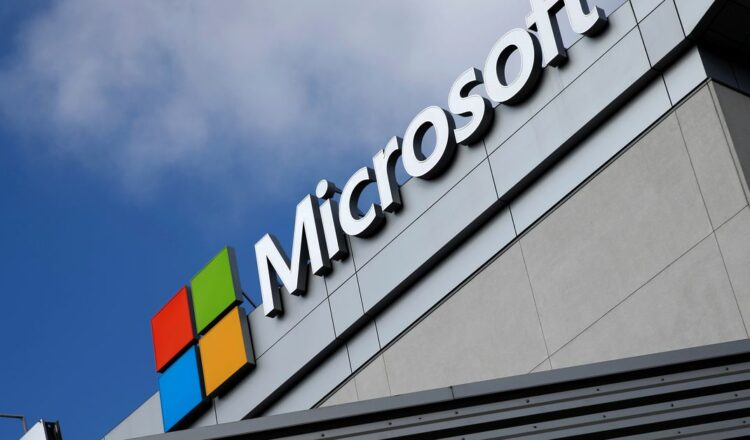 A Microsoft logo is seen a day after Microsoft Corp