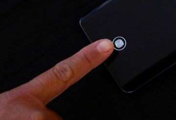A fingerprint sensor is pictured on a mobile phone in Mexico City, Mexico, February 3, 2021. REUTERS/Edgard Garrido