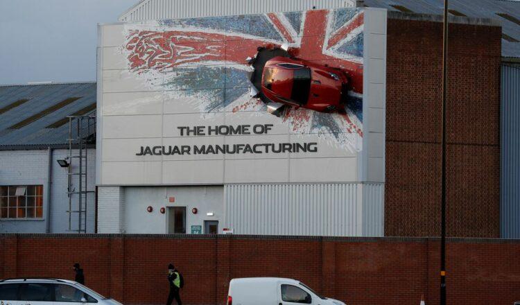 Workers arrive at Jaguar Land Rover