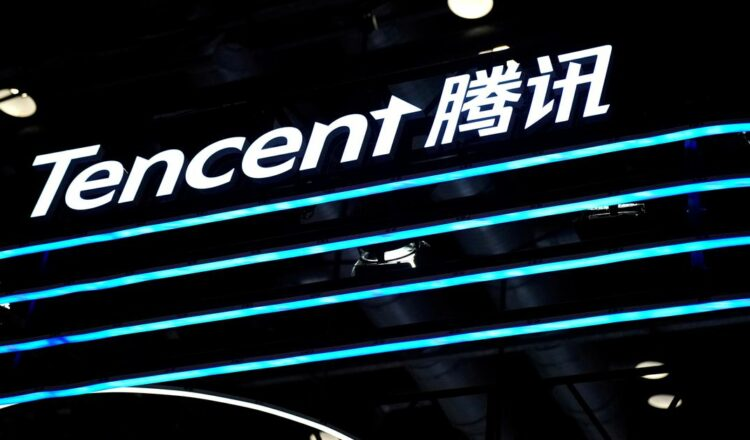 A Tencent logo is seen at its booth at the 2020 China International Fair for Trade in Services (CIFTIS) in Beijing, China September 4, 2020. REUTERS/Tingshu Wang