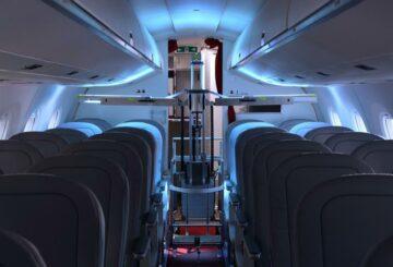 Robots suizos utilizan luz ultravioleta para eliminar virus a bordo de aviones de pasajeros