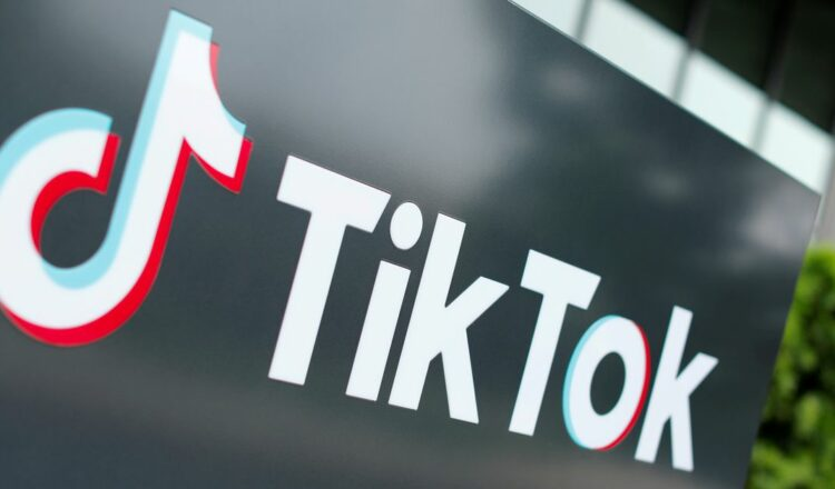 The TikTok logo is pictured outside the company