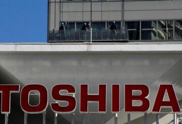 The logo of Toshiba Corp at the company