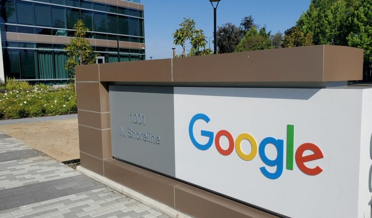 A sign is pictured outside a Google office near the company