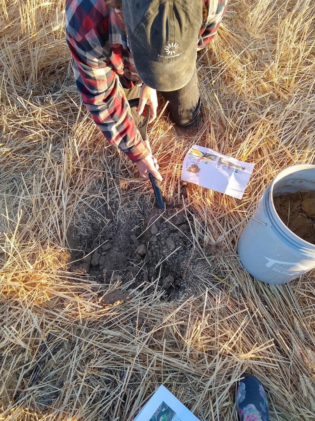 hombre cavando en el suelo de la granja