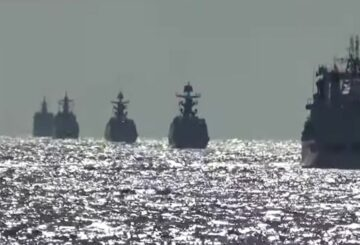 A group of naval vessels from Russia and China conduct a joint maritime military patrol in the waters of the Pacific Ocean, in this still image taken from video released on October 23, 2021. Russian Defence Ministry/Handout via REUTERS