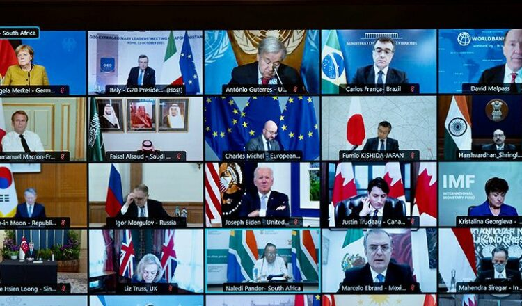 Italian Prime Minister Mario Draghi attends virtually an extraordinary G20 leaders meeting on Afghanistan, in Rome, Italy, October 12, 2021. Filippo Attili/Palazzo Chigi Press Office/Handout via REUTERS