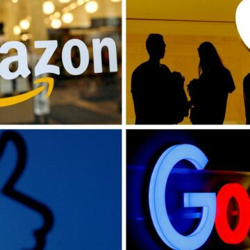 The logos of mobile apps, Google, Amazon, Facebook, Apple and Netflix, are displayed on a screen in this illustration picture taken December 3, 2019. REUTERS/Regis Duvignau