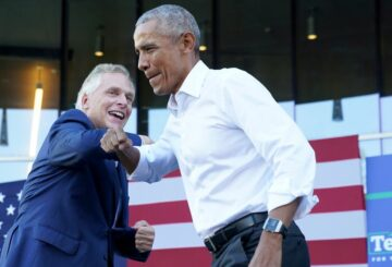 Former U.S. President Barack Obama speaks during a campaign rally for Virginia Democratic gubernatorial candidate Terry McAuliffe in Richmond, Virginia, U.S. October 23, 2021. REUTERS/Kevin Lamarque